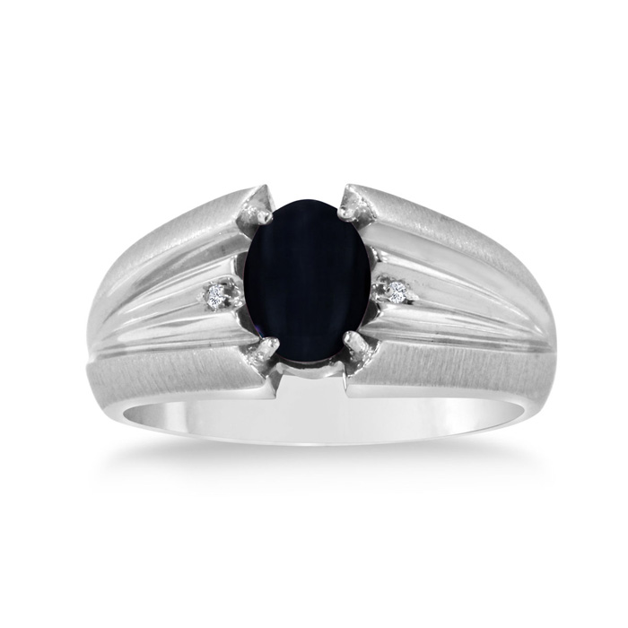Oval Black Onyx & Diamond Mens Ring Crafted in Solid White Gold,