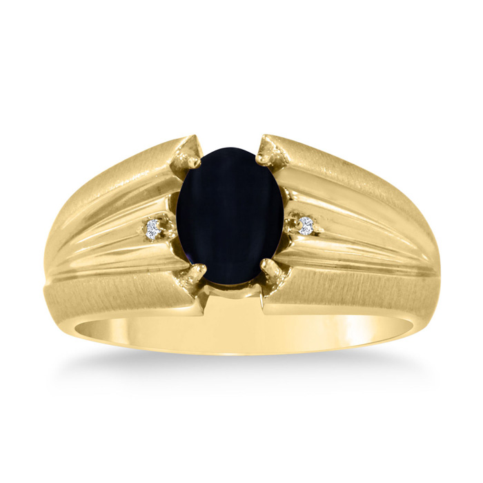 Oval Black Onyx & Diamond Mens Ring Crafted in Solid Yellow Gold,