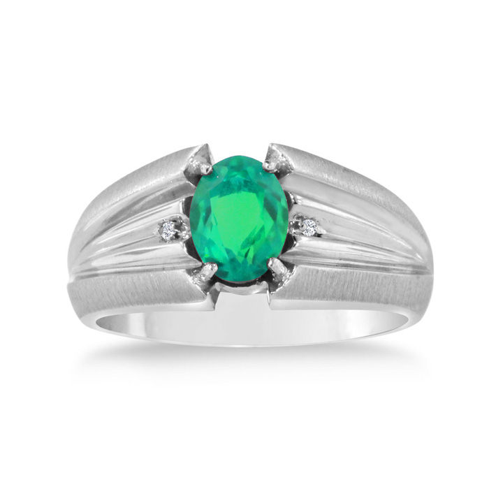 1.5 Carat Oval Created Emerald Cut & Diamond Mens Ring Crafted in Solid White Gold, I/J by SuperJeweler