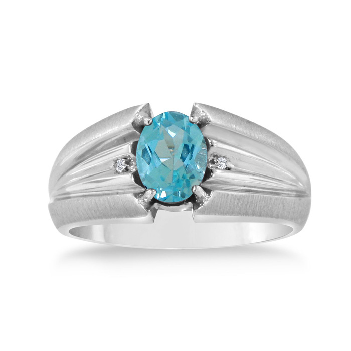 1.5 Carat Oval Blue Topaz & Diamond Mens Ring Crafted in Solid White Gold, I/J by SuperJeweler