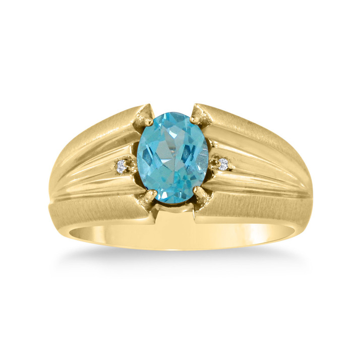 1.5 Carat Oval Blue Topaz & Diamond Mens Ring Crafted in Solid Yellow Gold, I/J by SuperJeweler