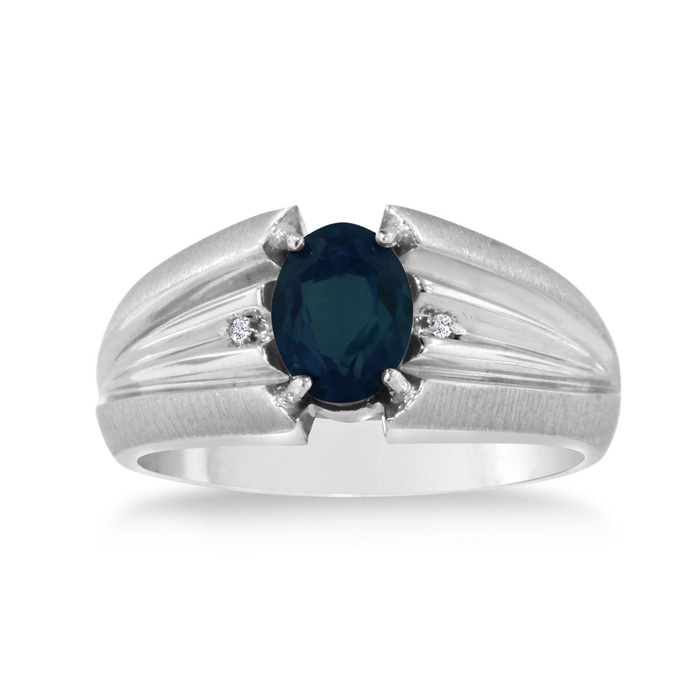 1.5 Carat Oval Created Sapphire & Diamond Mens Ring Crafted in Solid White Gold, I/J by SuperJeweler