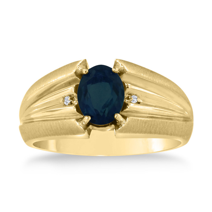 1.5 Carat Oval Created Sapphire & Diamond Mens Ring Crafted in Solid Yellow Gold, I/J by SuperJeweler