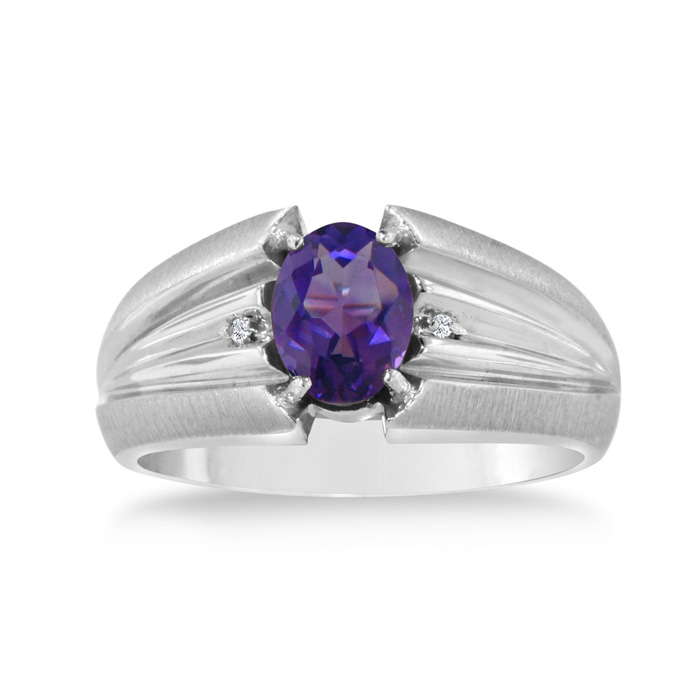 1.5 Carat Oval Amethyst & Diamond Mens Ring Crafted in Solid White Gold, I/J by SuperJeweler