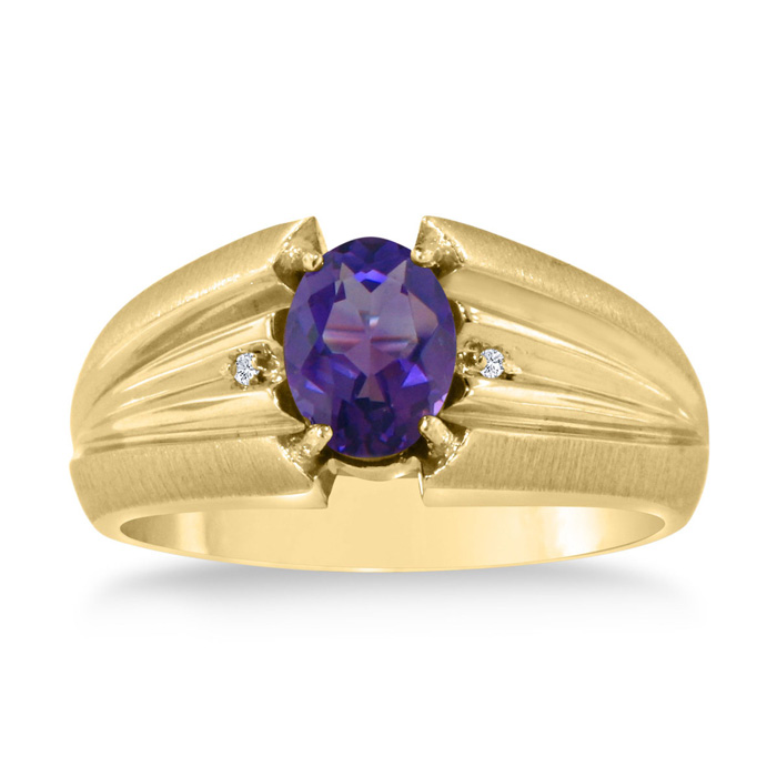 1.5 Carat Oval Amethyst & Diamond Mens Ring Crafted in Solid Yellow Gold, I/J by SuperJeweler