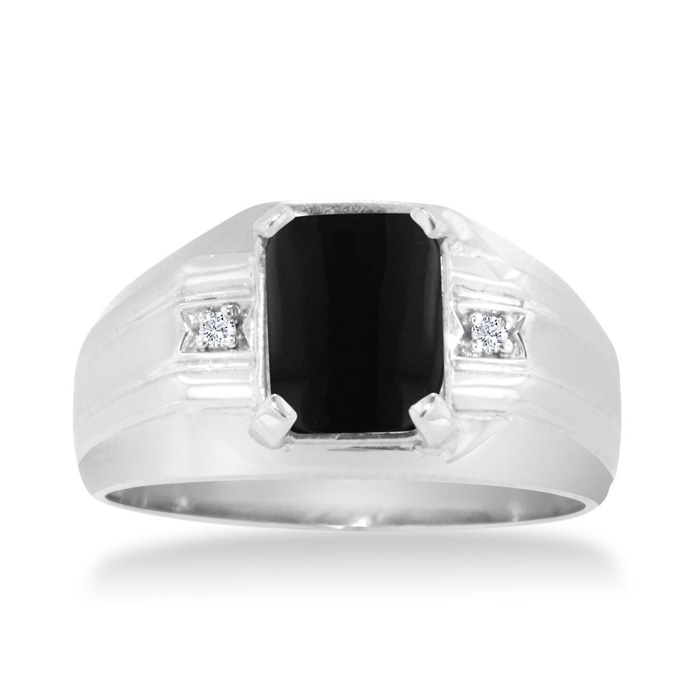 Emerald Cut Black Onyx and Diamond Men's Ring Crafted In Solid White Gold