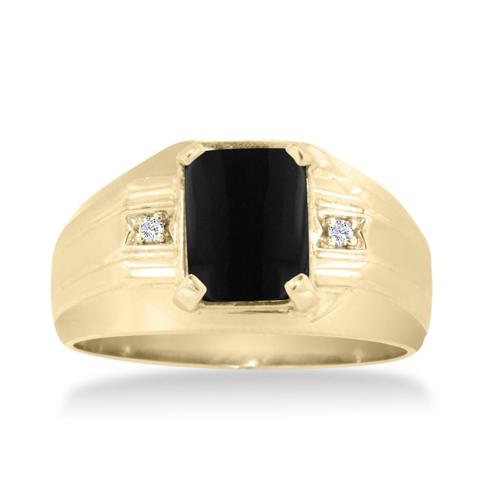 Emerald Cut Black Onyx and Diamond Men's Ring Crafted In Solid Yellow Gold