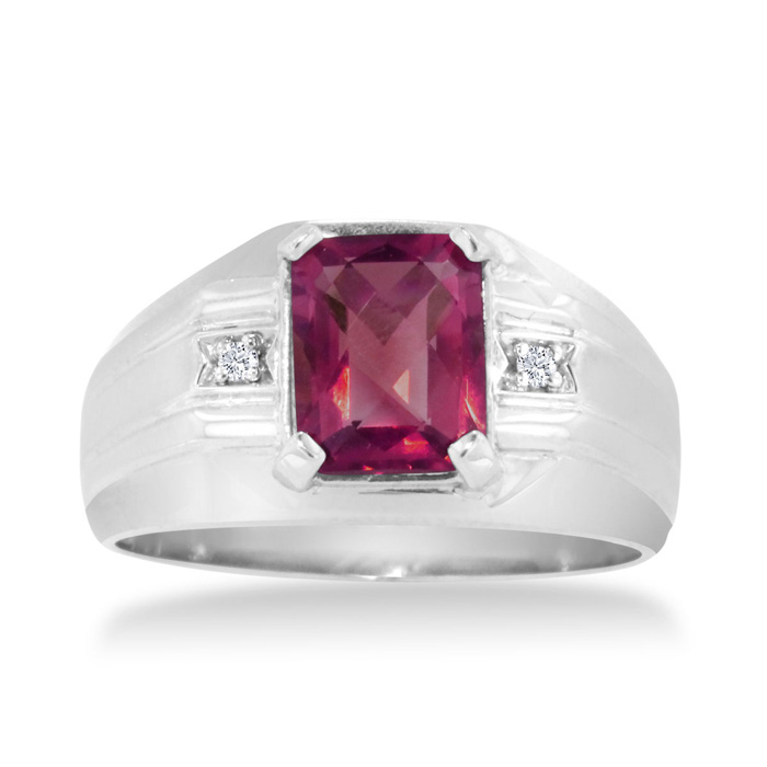2 1/4ct Emerald Cut Created Ruby and Diamond Men's Ring Crafted In Solid 14K White Gold