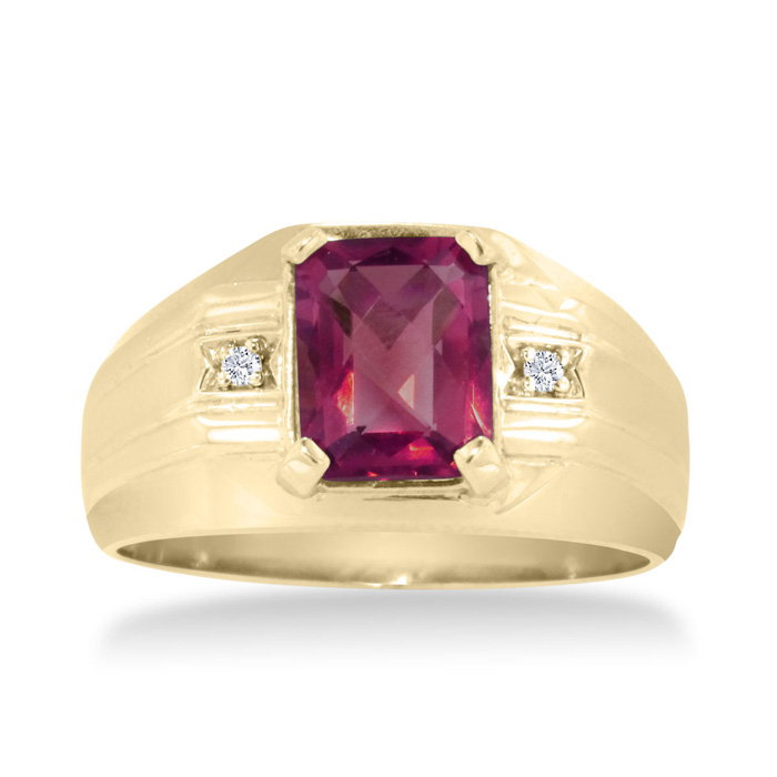 2 1/4 Carat Created Ruby & Diamond Mens Ring Crafted in Solid 14K Yellow Gold, I/J by SuperJeweler