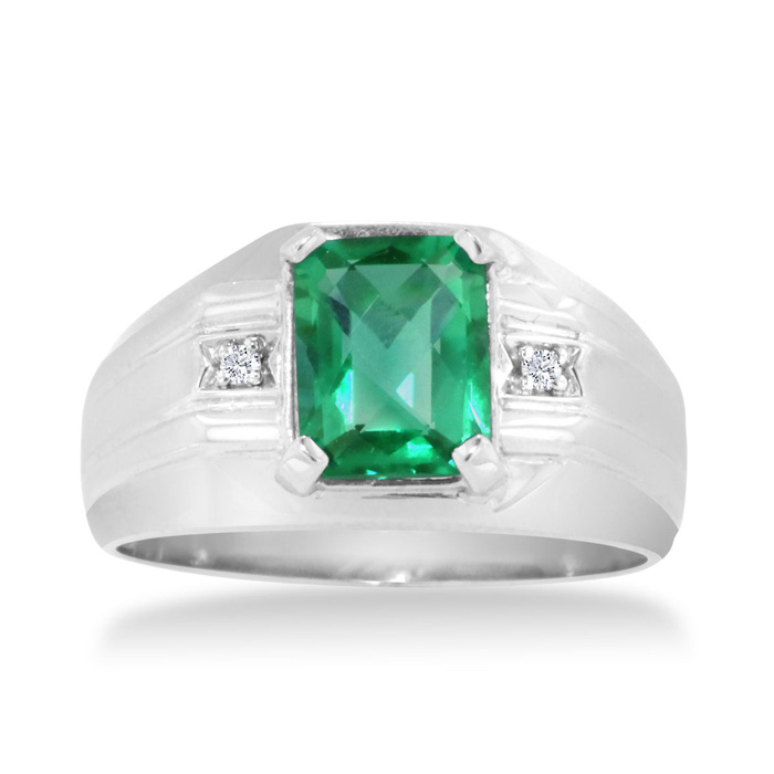 2 1/4ct Emerald Cut Created Emerald and Diamond Men's Ring Crafted In Solid 14K White Gold