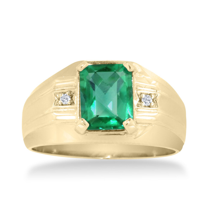 2 1/4ct Emerald Cut Created Emerald and Diamond Men's Ring Crafted In Solid 14K Yellow Gold