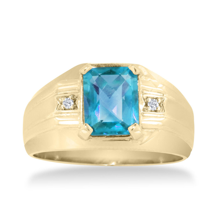2 1/4ct Emerald Cut Blue Topaz and Diamond Men's Ring Crafted In Solid Yellow Gold