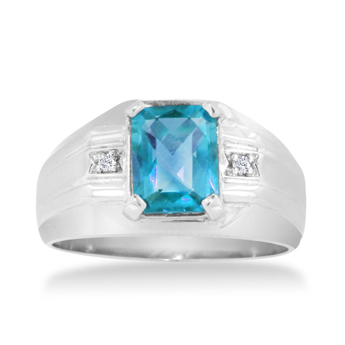 2 1/4ct Emerald Cut Blue Topaz and Diamond Men's Ring Crafted In Solid 14K White Gold