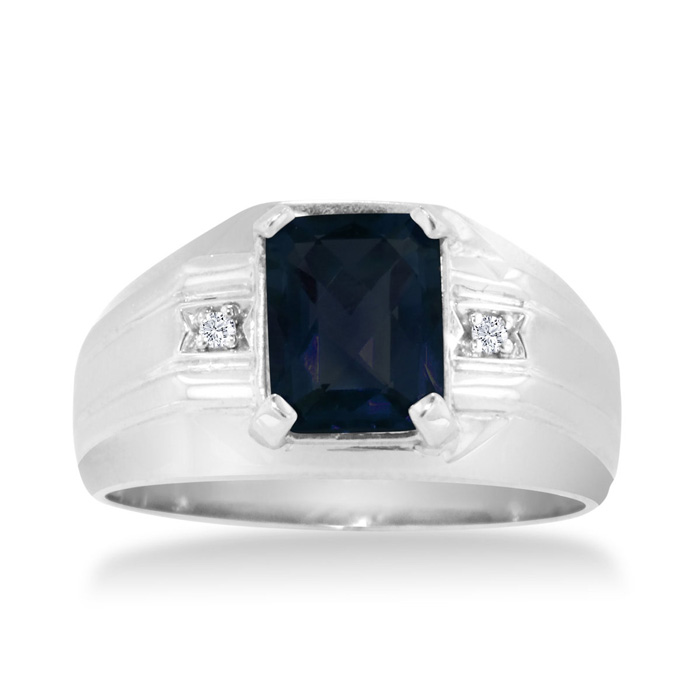 2 1/4ct Emerald Cut Created Sapphire and Diamond Men's Ring Crafted In Solid White Gold