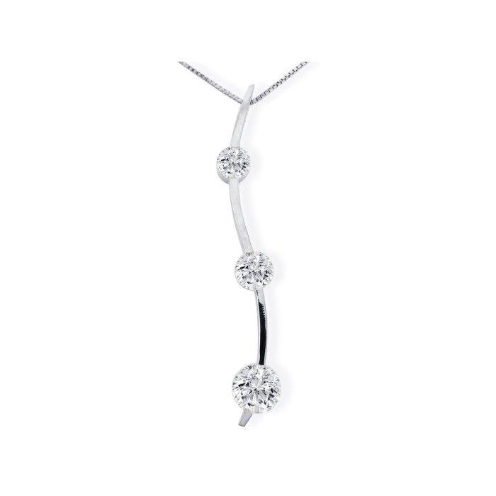 1ct Three Diamond Curve Style Diamond Pendant In 14k White Gold