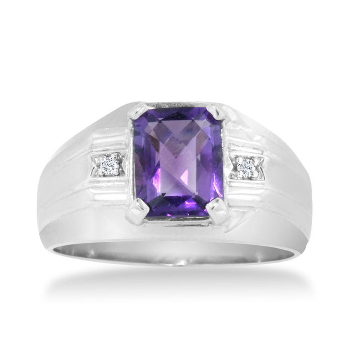 2 1/4 Carat Amethyst & Diamond Mens Ring Crafted in Solid White G