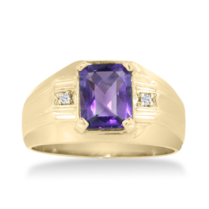 2 1/4 Carat Amethyst & Diamond Mens Ring Crafted in Solid 14K Yel