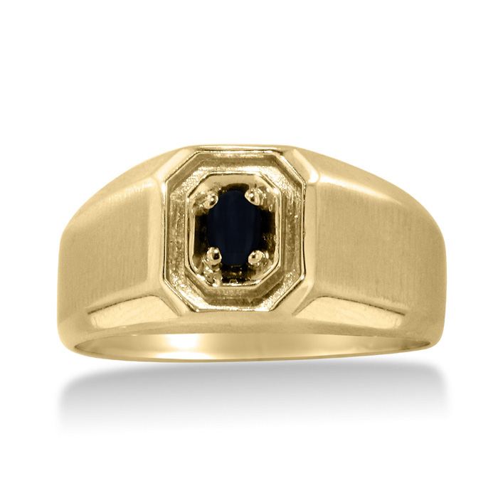 Oval Black Onyx Mens Ring Crafted in Solid 14K Yellow Gold by SuperJeweler