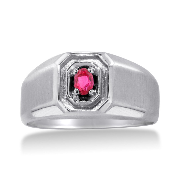 1/4 Carat Oval Created Ruby Mens Ring Crafted in Solid White Gold