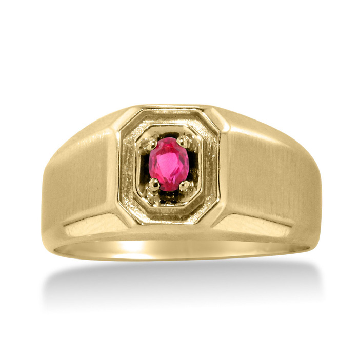 1/4 Carat Oval Created Ruby Mens Ring Crafted in Solid 14K Yellow Gold by SuperJeweler