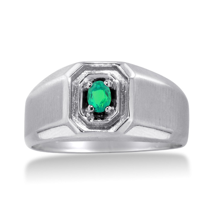 1/4 Carat Oval Created Emerald Mens Ring Crafted in Solid White G