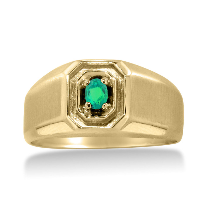 1/4 Carat Oval Created Emerald Mens Ring Crafted in Solid Yellow