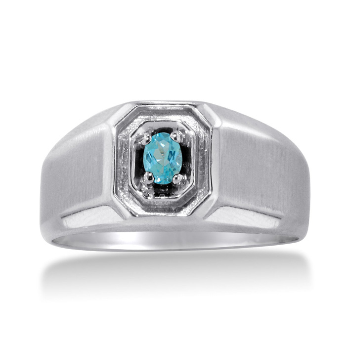 1/4 Carat Oval Blue Topaz Mens Ring Crafted in Solid 14K White Go