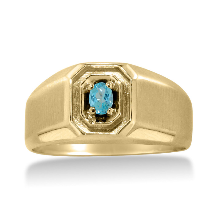 1/4 Carat Oval Blue Topaz Men's Ring Crafted in Solid 14K Yellow Gold by Sup..