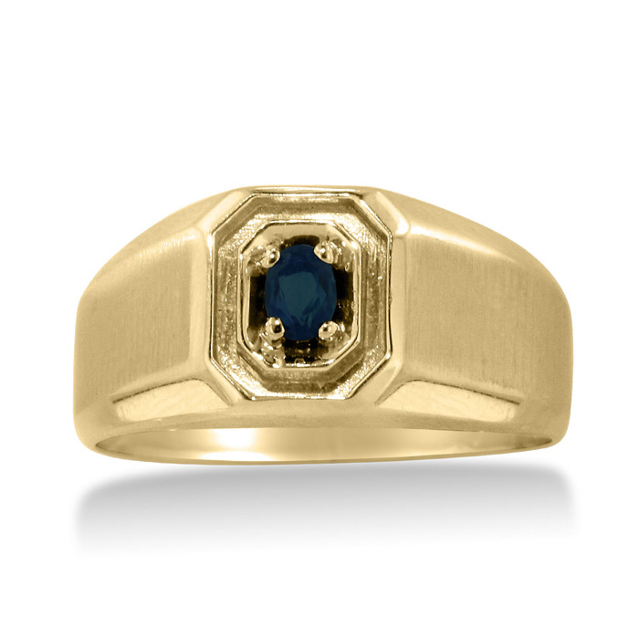 1/4 Carat Oval Created Sapphire Mens Ring Crafted in Solid Yellow
