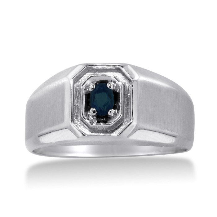 1/4 Carat Oval Created Sapphire Mens Ring Crafted in Solid 14K White Gold by SuperJeweler