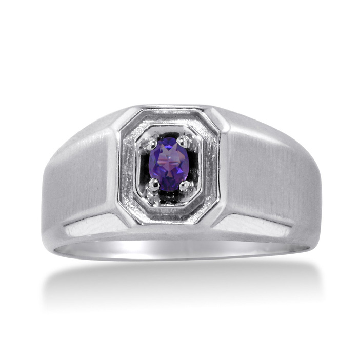 1/4 Carat Oval Amethyst Mens Ring Crafted in Solid White Gold by