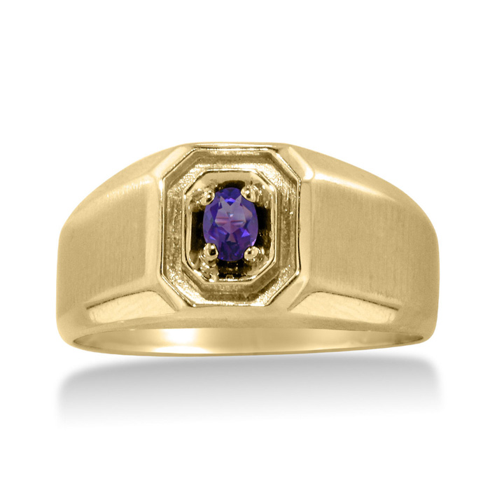 1/4 Carat Oval Amethyst Mens Ring Crafted in Solid Yellow Gold by SuperJeweler