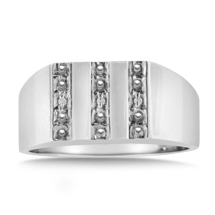 Mens Diamond Ring Crafted in Solid 14K White Gold, I/J by Hansa