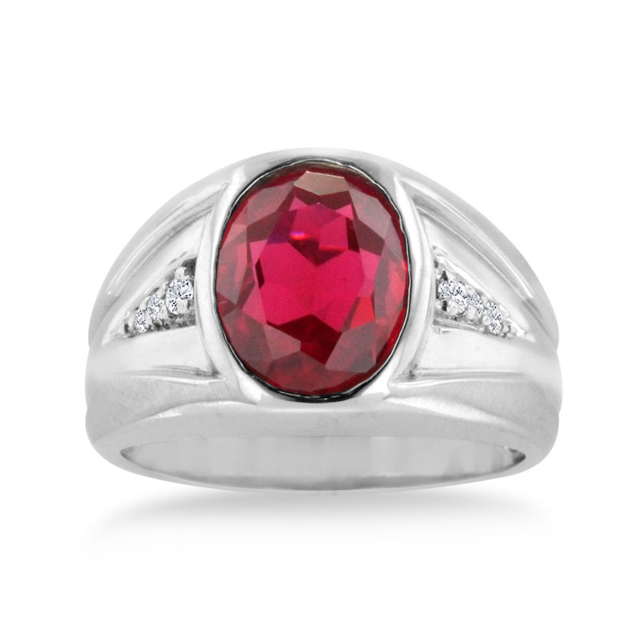 4 1/2 Carat Oval Created Ruby & Diamond Mens Ring Crafted in Solid 14K White Gold, I/J by SuperJeweler