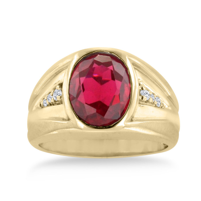 4 1/2 Carat Oval Created Ruby & Diamond Mens Ring Crafted in Solid 14K Yellow Gold, I/J by SuperJeweler