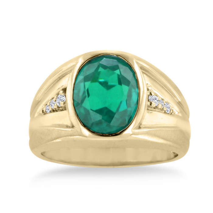 4 1/2 Carat Oval Created Emerald Cut & Diamond Mens Ring Crafted in Solid 14K Yellow Gold, I/J by SuperJeweler