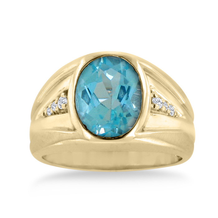 4 1/2 Carat Oval Blue Topaz & Diamond Men's Ring Crafted in Solid Yellow Gol..