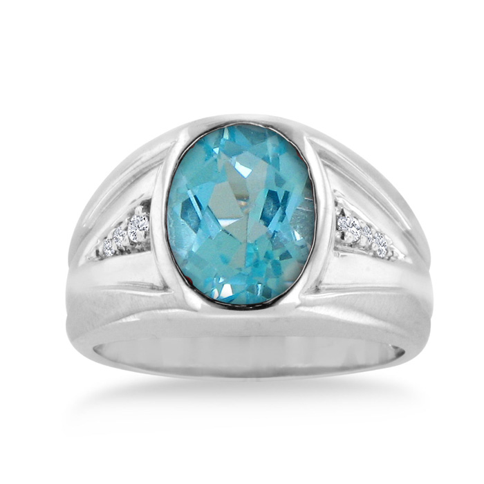 4 1/2 Carat Oval Blue Topaz & Diamond Mens Ring Crafted in Solid 14K White Gold, I/J by SuperJeweler