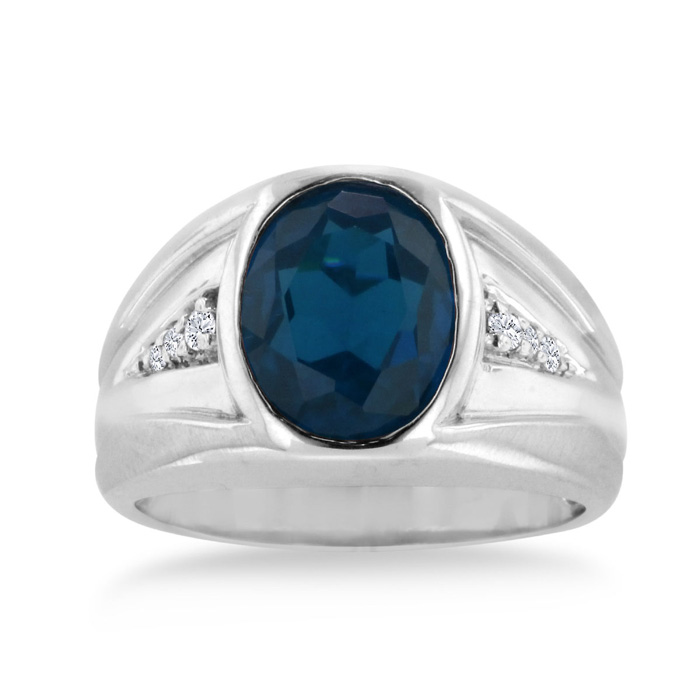 4 1/2 Carat Oval Created Sapphire & Diamond Mens Ring Crafted in