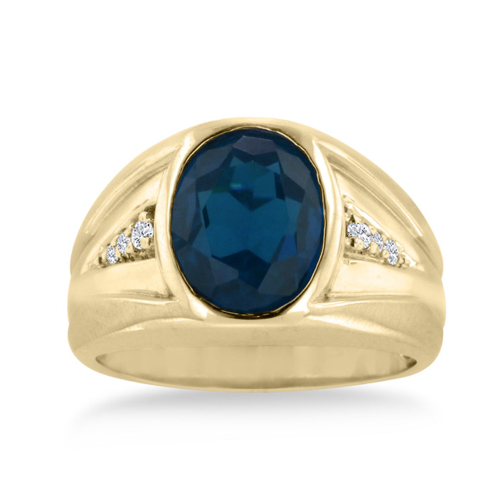 4 1/2ct Oval Created Sapphire and Diamond Men's Ring Crafted In Solid 14K Yellow Gold