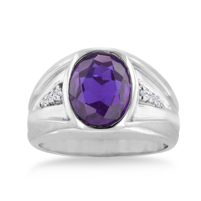 4 1/2 Carat Oval Amethyst & Diamond Mens Ring Crafted in Solid 14