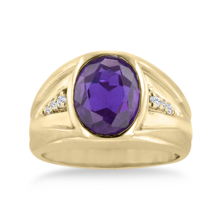 4 1/2 Carat Oval Amethyst & Diamond Men's Ring Crafted in Solid 14K Yellow Gold,  by SuperJeweler
