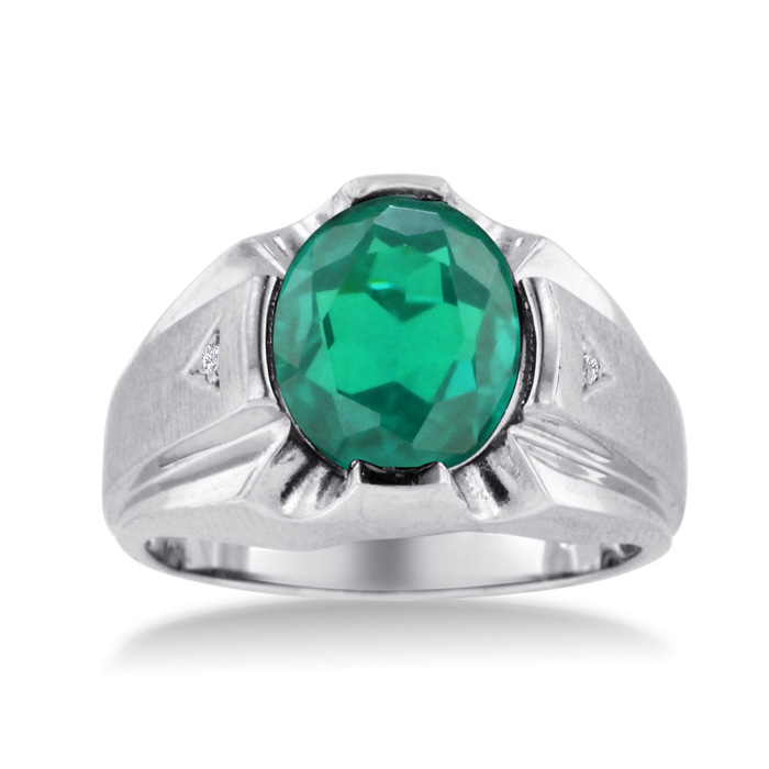 4 1/2 Carat Oval Created Emerald Cut & Diamond Mens Ring Crafted