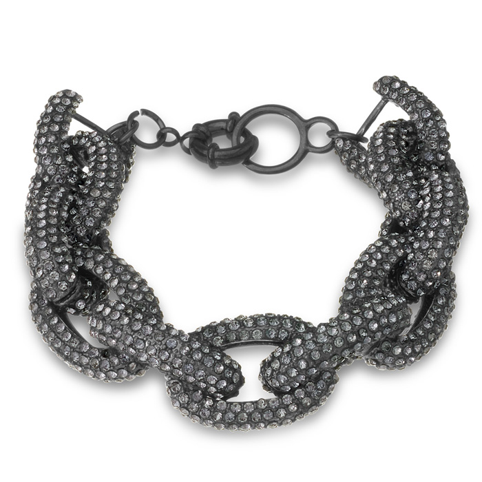 Gunmetal Chain Link Bracelet w/ Gray Crystals, 7 Inch by SuperJew