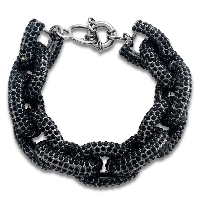 Gunmetal Chain Link Bracelet w/ Black Crystals, 7 Inch by SuperJe