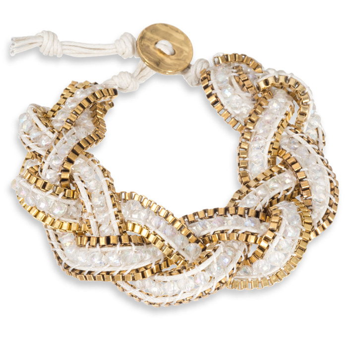 Braided White Crystal Bracelet w/ Gold Tone Box Chain Border & Bu