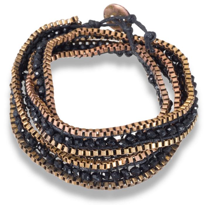 Black Crystal Wrap Bracelet w/ Gold Tone Box Chain Border & Butto