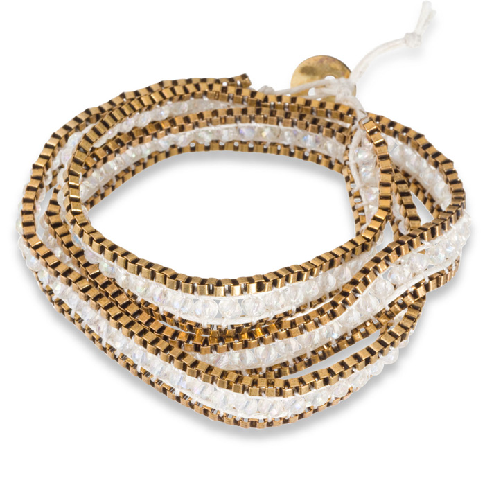 White Crystal Wrap Bracelet w/ Gold Tone Box Chain Border & Butto