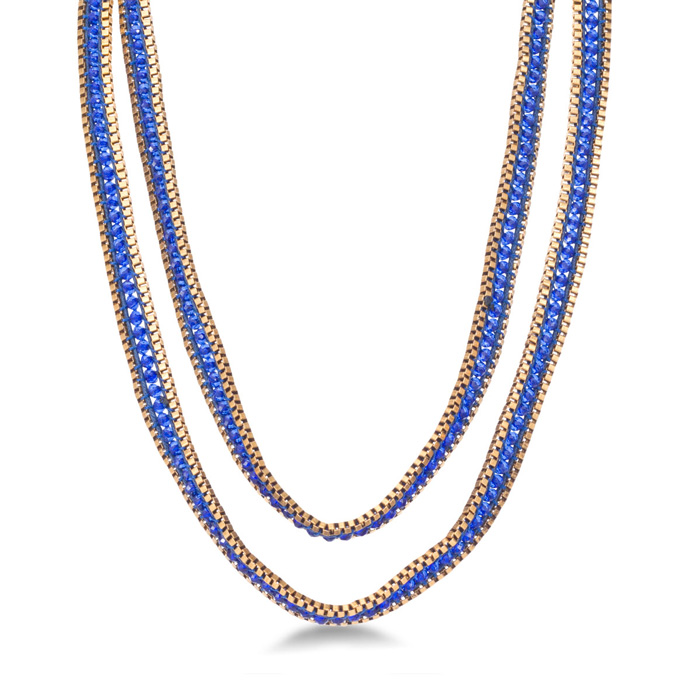 Blue Crystal Wrap Necklace w/ Gold Tone Box Chain Bracelet Border
