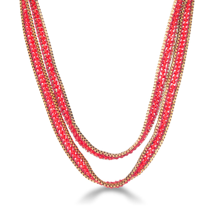 Red Crystal Wrap Necklace w/ Gold Tone Box Chain Bracelet Border